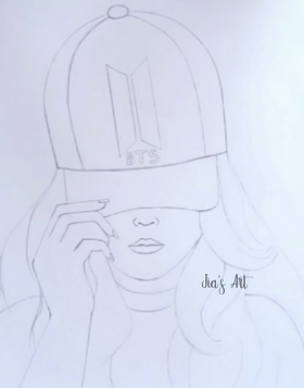 Hat Girl Drawing step 1